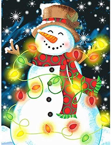 Arte pintura diamante para adultos Kits cuentas puntos piedra lluvia colorida muñeco nieve con luces Megei 40X50Cm