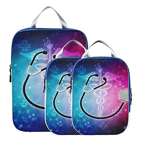 Organizadores de maletas para viajes Ilustración 3d Estetoscopio Compresión Cubos de viaje Bolsas...