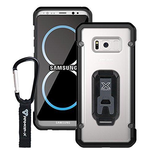 Armor-X Handyhülle mit Bumper für das INNOVATIVES HALTERUNGSSYSTEM mit zahlreichem Zubehör für Helm, Fahrrad, Auto, Sport, Laufen- durchsichtige Schutzhülle Cover Smartphone Hülle (Samusung S8+)