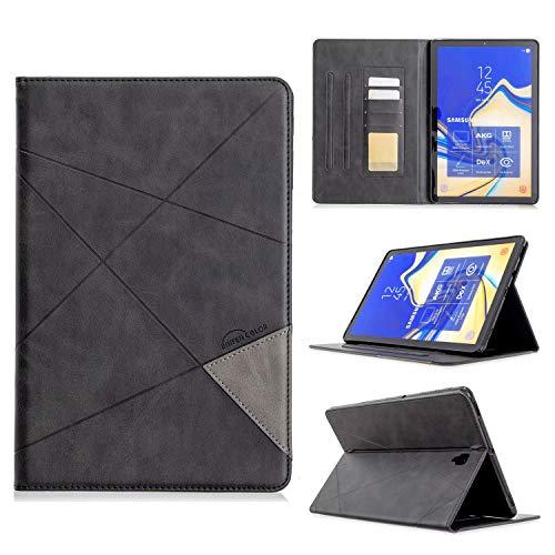 Miagon Hülle für Samsung Galaxy Tab S4 10.5 T830,Pu Leder Geschäft Retro Schutzhülle Case Cover mit Kartensteckplatz Ständer Funktion,Schwarz