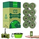 Yolistar Sacchetti Lgienici per Cane Biodegradabili 8 Rotoli (Verde), Sacchetti per Bisogni dei Cani, Sacchetto Escremento Cane - con Distributore di Sacchettini + Ciotola Pieghevole per Cane ×1