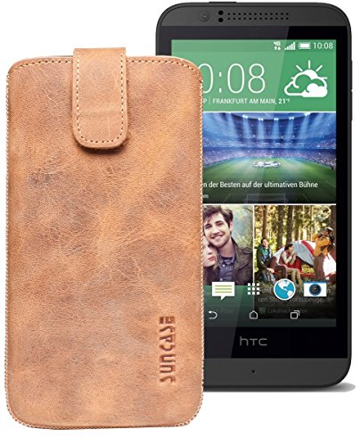 Original Suncase® Etui Tasche für HTC Desire 510 | HTC Desire 526G Dual SIM | ZTE Blade V6 Leder Etui Handytasche Ledertasche Schutzhülle Hülle Hülle *Lasche mit Rückzugfunktion* antik-cognac