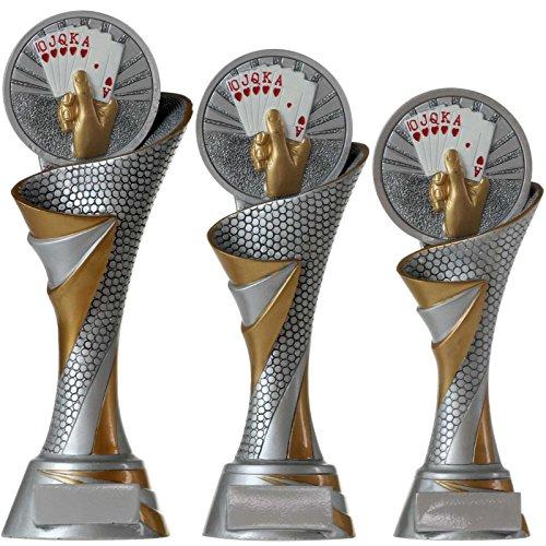 FG Pokal S Trophäe Skat Poker Karten mit Emblem 70 mm aus Resin Kunstharz massiv ca. 22,5 cm hoch
