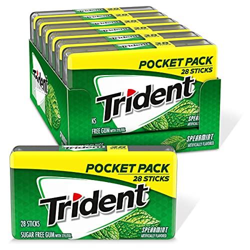 Trident Spearmint Sugar Free Gum, 6 Pocket Packs of 28 Pieces (168...
