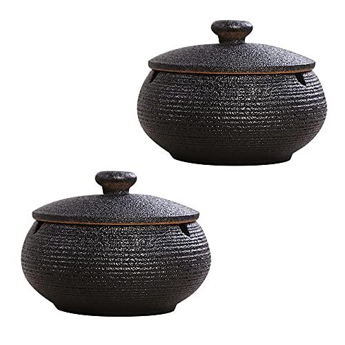 2 piezas Cenicero de Puros Cenicero Ceramica con Tapa, Fácil de Limpiar Antiviento Antiolor Ashtray para Jardin Oficina Balcón Sala de Estar