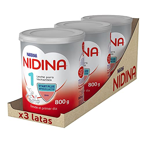 Nestlé NIDINA 1 - Leche para lactantes en polvo - Fórmula para bebés - Desde el primer día - pack de 3 latas x800 gr - Total: 2400 gr
