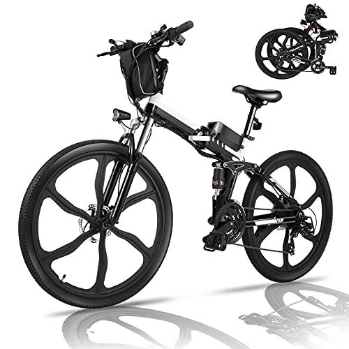 Bicicletta Elettrica Pieghevole, 26' mountain bike elettrica con motore da 36V 8Ah batteria rimovibile, Professionale Shimano 21 velocità, Sospensione Completa (Wanderer nero)