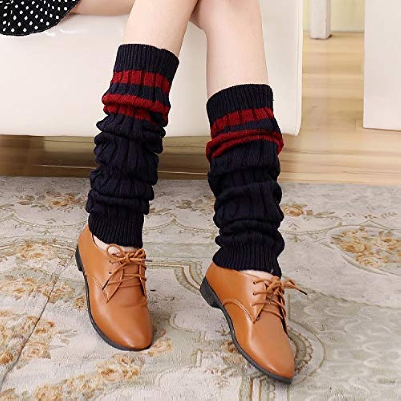 Warm Keeper, Legging warmers Autumn and winter thick warm twist yarn socks set three bars student socks knee pads leggings female socks pile socks (color   Wine red)