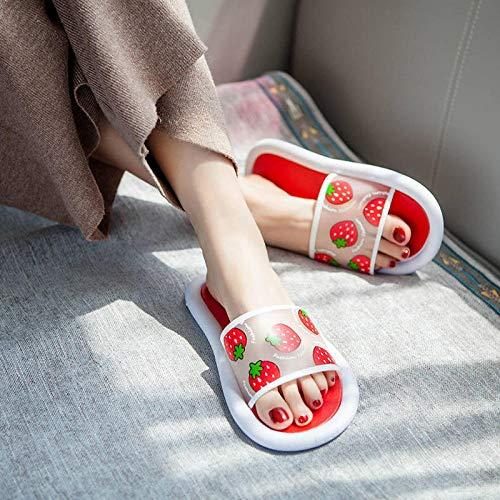 TDYSDYN Masajes Playa Chanclas Sandalias,Zapatillas de baño para el hogar, Bonitas Zapatillas con Fondo suave-14-rojo_40-41