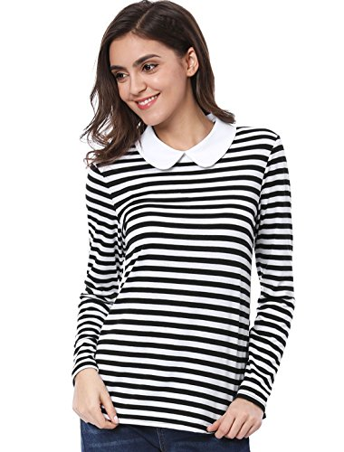 Allegra K Damen Langarm Bubikragen Halloween Colorblock Streifen Top Bluse Schwarz S
