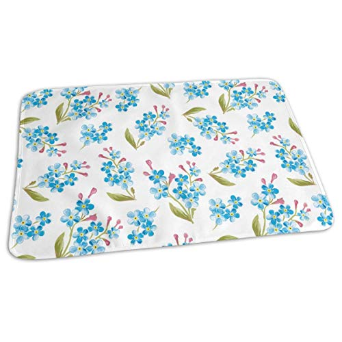 Voxpkrs Changing Pad Watercolor Blue Flowers Pattern Baby Diaper Urine Pad Mat Fabulous Kids Sheet Sheet for Any Places for Home Travel Bed Play Stroller Crib Car