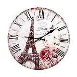 Lcjtaifu Vintage París Torre Eiffel Reloj De Pared De Madera Redondo Estilo Antiguo Hogar Cocina Dormitorio Decoración