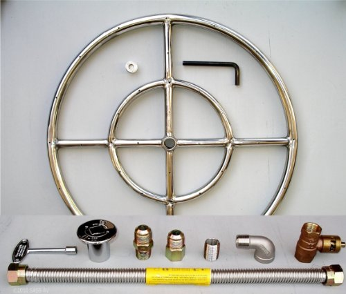 """Fireplace Glass San Diego 18"""" Round Stainless Steel Fire Pit Gas Burner Ring Kit with Elbow"""
