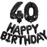 DIWULI, XL Zahlen-Ballon Zahl 40 + Happy Birthday Luftballon, Buchstaben-Ballons schwarz, Folien-Luftballons Nummer Nr Jahre, Folien-Ballons 40. Geburtstag, Motto-Party, Dekoration, Geschenk-Deko Set