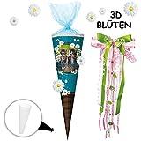 alles-meine.de GmbH mit _ 3-D Effekt - Blumen & Blüten ! _ Schultüte -  süße Katzen & Kätzchen  - 85 cm - eckig - incl. große Schleife - Organza Abschluß - Zuckertüte - mit / o..