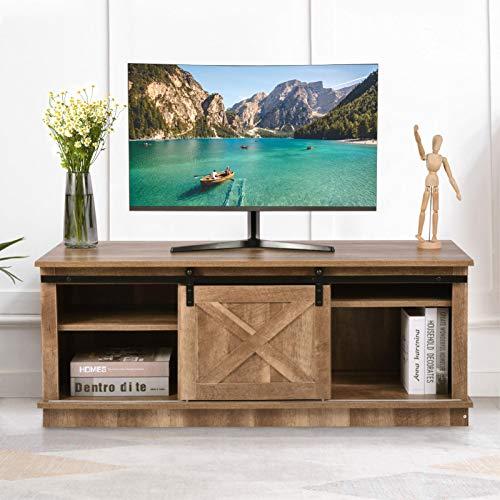 Vintage Farmhouse Sliding Barn Door TV Stand, MDF Wooden TV Cabinet Up to 60