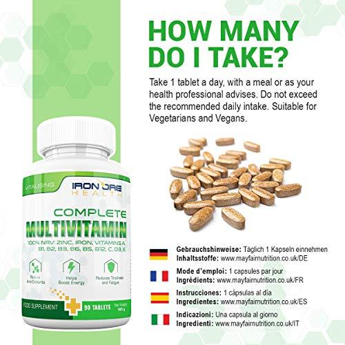Complete Multivitamin – Die besten Vitamine, die man nur 1 x am Tag nehmen muss: für optimale Gesundheit, Vitalität, Unterstützung des Immunsystems, Zink, Eisen, Magnesium, 100% ETD an A C B2 B3 B6 B7 B12 D E für Männer & Frauen – 90 Tabletten – Qualitativ hochwertige Inhaltsstoffe - 6