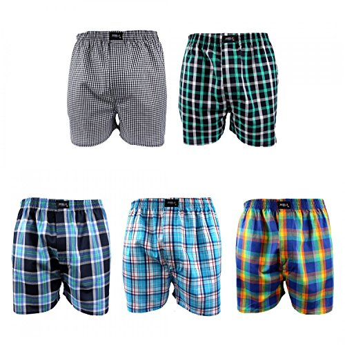 MG-1 5 Stück Webboxer Boxershorts Shorts Boxer Herren desortierter Farbmix, Grösse:M - 5-50, Farbe:Mehrfarbig, Menge:5er Pack