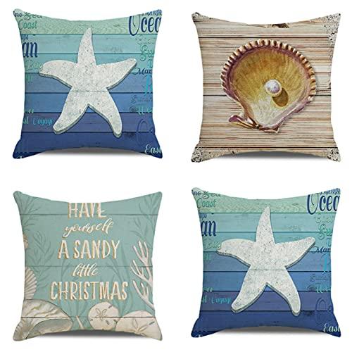 JOVEGSRVA Juego de 4 fundas de almohada decorativas con diseño de estrellas de mar de tablón de 45 cm x 45 cm para sala de estar, sofá cama, fundas de almohada