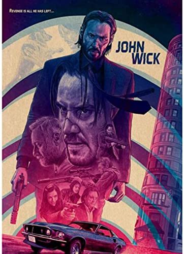 HANJIANGXUE Canvas Posters 43 Designs John Wick Poster Reeves Artwork Painting Funny Fancy Wall Sticker For Coffee House Bar50*70 Cm Strong Durability