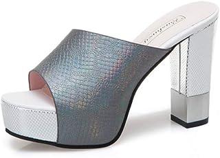 Cosplay-X Peep Toe High Heel Mules Sexy Sandals for Women Dress Heels Ladies Chunky Heel Summer Shoes