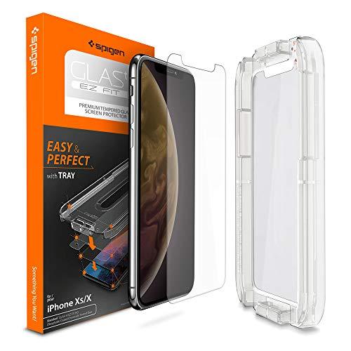【Spigen】 iPhone XS ガラスフィルム/iPhone X ガラスフィルム 【貼り付けキット付き】 5.8インチ 用 薄さ0.4mm 【日本製旭硝子採用】 強化ガラス 液晶保護フィルム 高透過率 液晶パネル 保護 3D Touch Face ID 対応 063GL24823 (Glas.tR EZ Fit (1枚入))