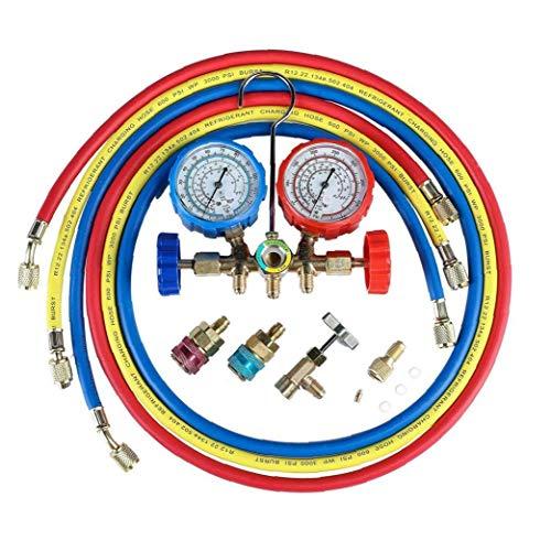 Odoukey Calibrador de Aire Acondicionado de refrigerante de CA de diagnóstico de diagnóstico de Manómetros probador del calibrador Conjunto del múltiple de diagnóstico flúor Múltiple de la Tabla