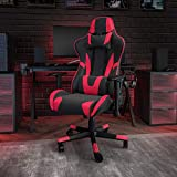 Flash Furniture X20 Gaming Chair Racing Office Ergonomic Computer PC Adjustable Swivel Chair with Fully Reclining Back in Red LeatherSoft