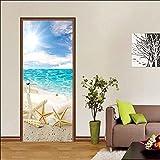 EIDLIR Pegatinas Puertas 3D Murales Diy Vinilo Paisaje de estrellas de mar de playa sol Papel Tapiz Carteles Pegatinas de Pared Para Dormitorio, cuarto de niños, arte moderno Decoraciones 95x215cm