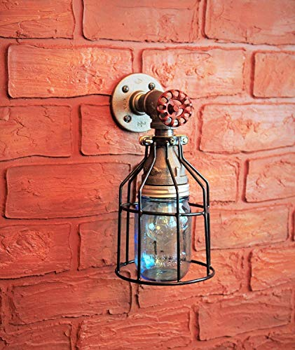 Industrial Wall Sconce Pipe Lighting w/Blue Turquoise Mason Jar for Kitchen, Bathroom or Outdoor Lighting Sconces Steampunk - Black Cage - Modern Industrial Lighting Fixture, Farmhouse Light