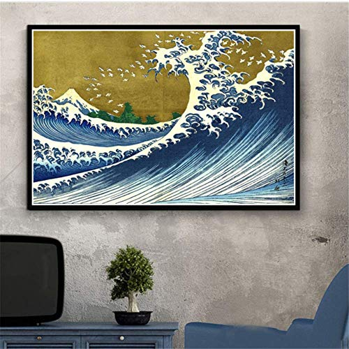 Canvas Artwork Painting 15.7'x23.6' no frame Japan Views Mount Katsushika Wave Posters And Prints Wall Pictures For Living Room Home Decor