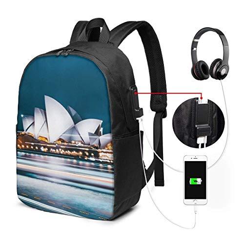 17in Laptop Rucksack mitUSB-Ladeanschluss Tasche, australische Stadt Sydney Computer Busin Rucksäcke für Office Daypack