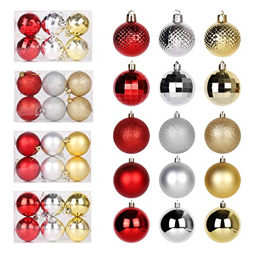 SALCAR Bolas de Navidad de Plástico Rojo Dorado Plateado Ø