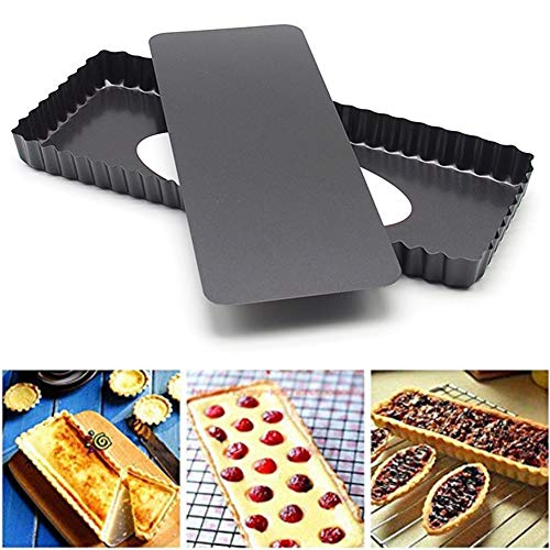 Lucare 14inch Practical Wavy Rectangle Non Stick Maker Mould for Pie Toast Bread Cake Pan Baking Tool Black