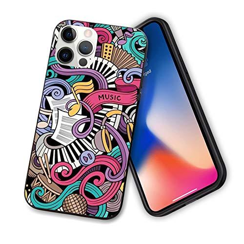 Doodle - Funda para iPhone 12 Series 2020, diseño abstracto de instrumentos de micrófono y tambores y teclado Stradivarius, flexible y delgada, de TPU para iPhone 12 mini 5,4 pulgadas