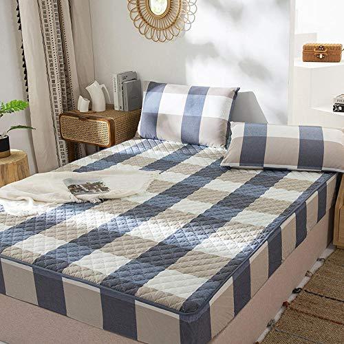 FJMLAY Sábana Bajera clásica,Sábanas Gruesas de Ropa de Cama de algodón, Protector de colchón de apartamento de Hotel de Lujo Protector-Blue_3_120 * 200cm