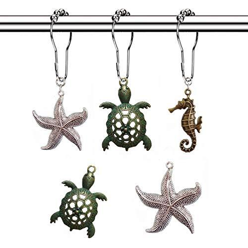 Molika Shower Curtain Hooks Rings - Rustproof Metal Curtain Hangers,Starfish Seahorse Turtle Decorative Bath Room Animal Accessories Set - Creative Ocean Cartoon Theme Bathroom Decor, 12PCS