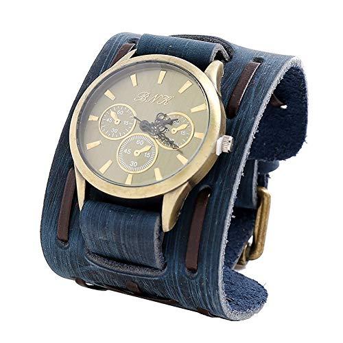 Xlin Reloj para Hombres Reloj De Joyería Europeo Y Americano Retro Hacer Viejo Pulsera De Cuero Tejido Reloj Reloj De Reloj De Hombre A Prueba De Ancho Pulsera (Color : Blue)
