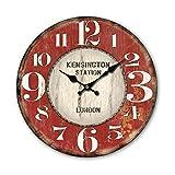 Reloj de pared redondo de madera MDF de 34 cm, con efecto madera, rojo, Londres, estación Kensington, números arábigos, cara abierta, salón, dormitorio y cocina, multicolor