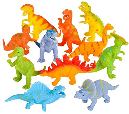 Novelty Treasures Soft Flexible Colorful Dinosaurs 12 Pack Birthday Party Goody Bag Dino Toys