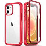 GOODON iPhone 12 Case,iPhone 12 Pro Case with Built-in Screen Protector,Pass 20 ft. Drop Test Military Grade Clear Cover Full Body Protective Phone Case for Apple iPhone 12/12 Pro 6.1″ Nice Red