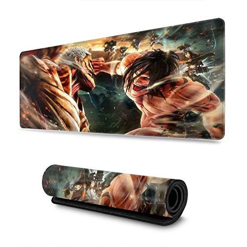 Vaweyaw Attack On Titan Office Desktop Or Gaming Mouse Mat Keyboard Pad Personalized Rectangle Mouse Pad 11.8 X 31.5 in