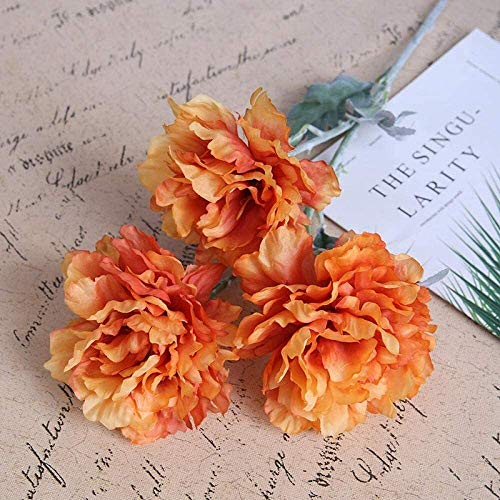 Interior Flores Artificiales for la decoración, peonía, 3 Cabezas, 68cm-blanquecinos, 10PCS, for la decoración casera, Boda, Partidos, oficinas, restaurantes Artificial (Color : Orange)
