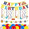 Decorlife Carnival Theme Party Decorations for Kids Includes Circus Backdrop, Doorway Curtain, Porch Sign Cutouts, Hanging Swirls, Photo Props, Hats, Banners, 68PCS #4