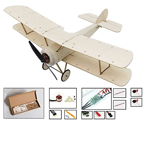Mini RC Plane Kit Sopwith Pup Biplane Model Aircraft, 14.8'' Wingspan Balsa Wood Airplane Kits to Build, DIY Radio Controlled Airplane Electric RC Aeroplane for Adults Indoor Fly (KIT+Motor+ESC+Servo)