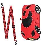 Yewos Compatibile con Huawei P40 PRO Cover Cordino Cartone Animato,Custodia Auto Sportiva Rossa Cartoon 3D Simpatico,Cool Elegante Ragazze Ragazzo Silicone Case Cover con Lungo Tracolla