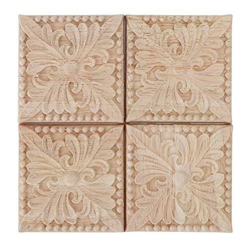 Wifehelper 4 Stücke Carving Checkered Applique Unlackiert Aufkleber für Möbel Dekoration Natürliche Holzapplikationen Platz Blume Carving Decals Dekorative Holz Handwerk 6x6 cm (2#)