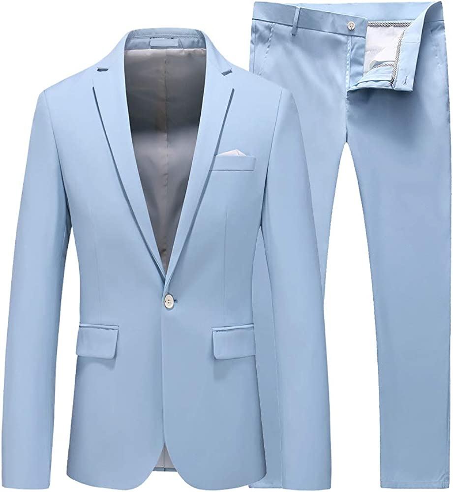 Ranking TOP4 UNINUKOO Men's El Paso Mall 2 Piece Suit Slim Button One Solid Fit Forma
