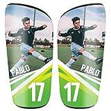 SAQUITOMAGICO Espinilleras Personalizadas con tu Foto y Dorsal para Niños y Adultos (Grass, XS (niño))