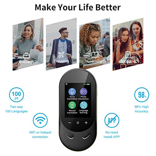 Language Translator Device Offline Translator Device Two Way Instant Voice Translator Audio Memo Recording Translation Support 106 Languages Travelling Learning Shopping Business Chat Shopping Black Photo #4